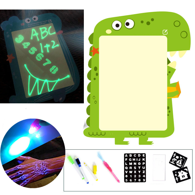 A3/A4 3D 2In1 Magic Luminous Drawing Board Graffiti Children Doodle Drawing Tablet Pad With Light Blackboard Fun Writing Board