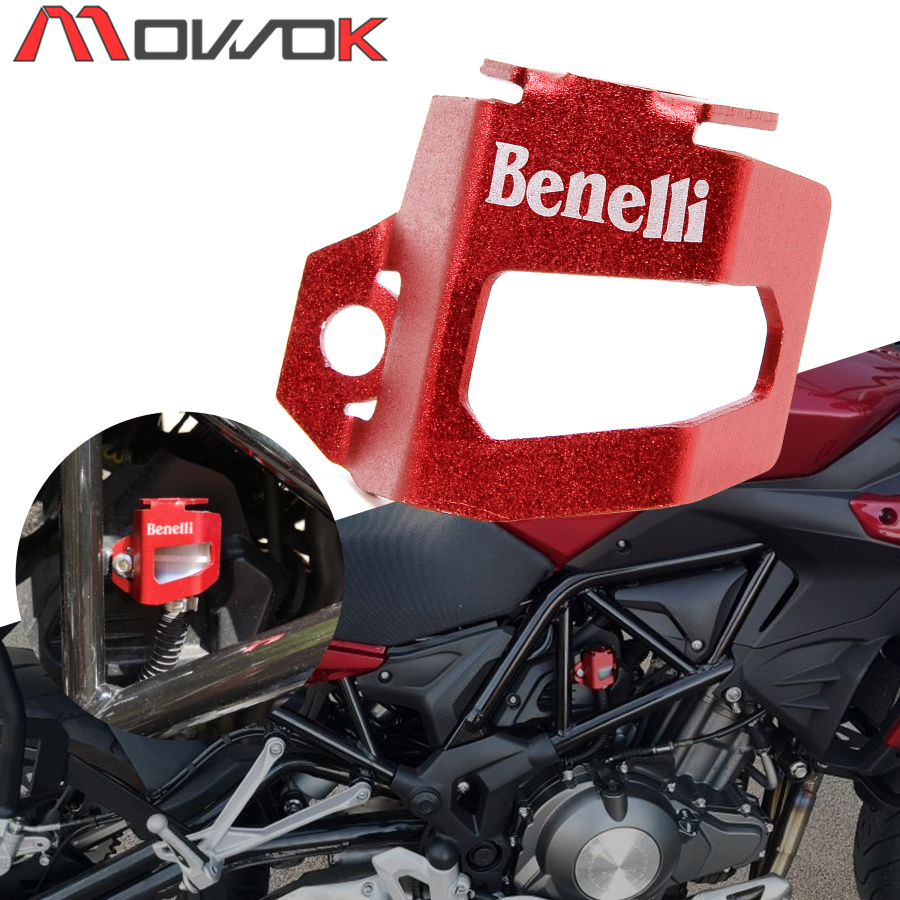 With LOGO Motorcycle Rear Brake Oil Cup Oil Can  CNC Aluminum Protect the Cup Cover For Benelli TRK 502 Leoncino 500 BJ500