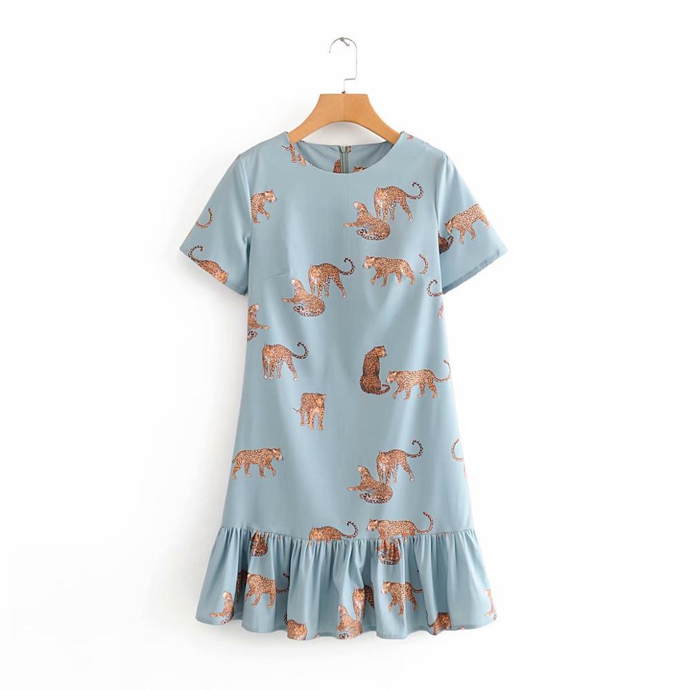 2020 Women O Neck Leopard Printing Hem Ruffles Casual Mini Dress Lady Short Sleeve Casual Vestidos Chic Straight Dresses DS3297