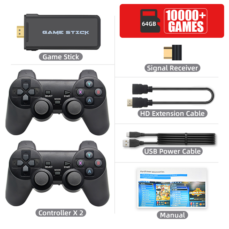 DATA FROG 4K HD Video Game Console 2.4G Double Wireless Controller For PS1/GBA Classic Retro TV Game Console 64GB 10000 Games
