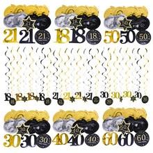 Guirlande suspendue en spirale pour plafond, 8 pièces, noir et or, bannière en PVC, fournitures de décoration pour fête d'anniversaire, 18 21 30 40 50 60
