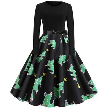 Women Christmas Long Sleeve Print Elegant Vintage Knee-length Party Dress Robe 2019 Autumn Winter Casual Plus Size Xmas Dress 4