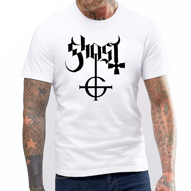 Casual Fitness Men T Shirts Maggo Swedish Heavy Metal Band Ghost Logo Tshirt Mens in T Shirts from Men 39 s Clothing