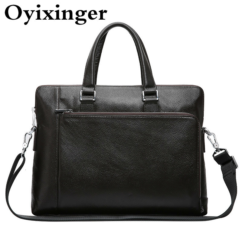 Casual Genuine Leather Briefcases Men Bag 13.3 14.1 Inch Laptop Briefcase Man Handbag Male Simple Natural Cowhide Shoulder Bags