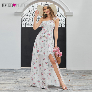 Image 4 - Simple Floral Printed Prom Dresses Ever Pretty A Line Side Split Sleeveless Sexy Beach Style Chiffon Party Dresses Vestidos 2020