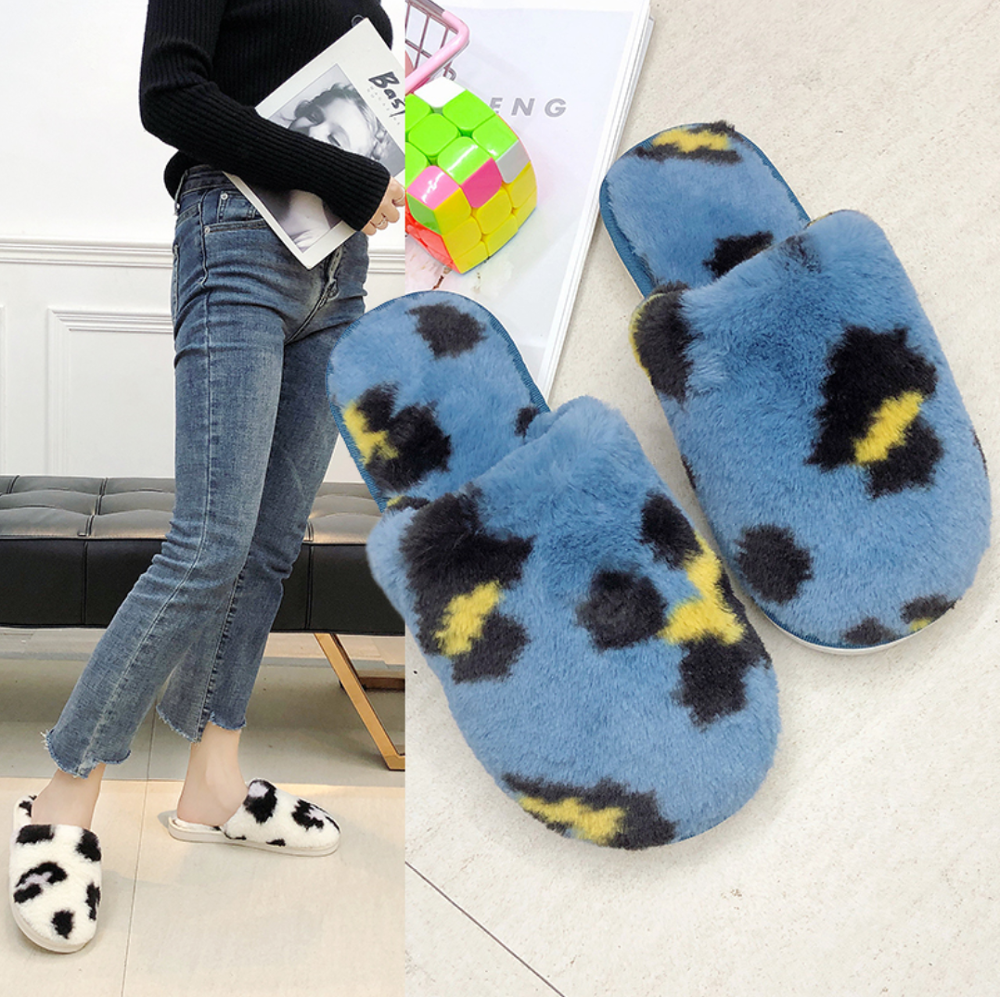 Winter Woman Cotton Slippers Sexy Leopard Sandals Slippers Home Shoes Furry Shoes Cute Slippers Flip-flops Slide Girly Heart