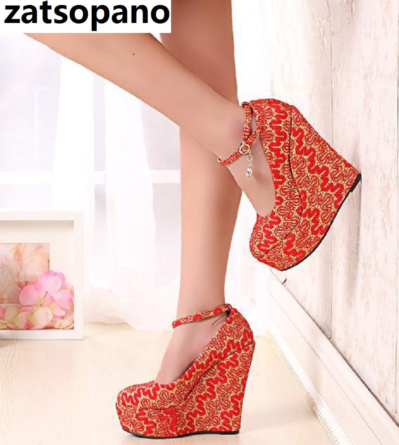 Beautiful Fashion Free Shipping Multi Color Leather <font><b>15</b></font> Cm Wedges Shoes Round Toe Pumps.<font><b>SIZE</b></font>:30-43 Wedding Shoes Women <font><b>Heels</b></font> image