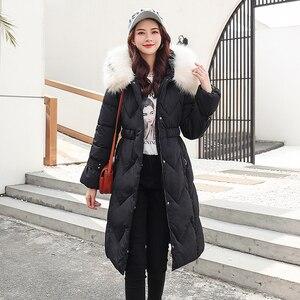 Image 4 - 2020 зимняя новая парка, женская утепленная пуховая хлопковая куртка, пальто, теплые пуховые хлопковые пальто, женская однотонная куртка с капюшоном, длинные плотные приталенные куртки