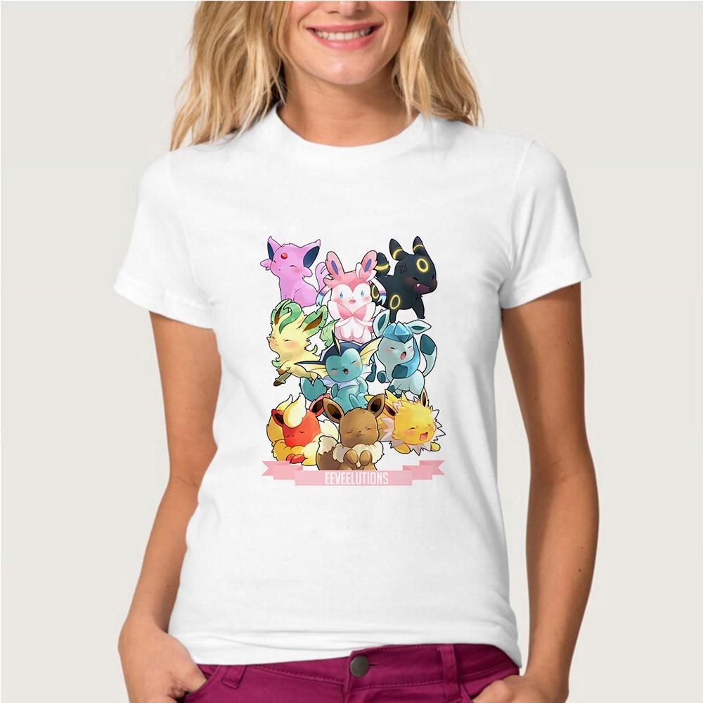 New Fashion T Shirt Women Cute Pokemon Eevee Family Print Short Sleeve O Neck Cotton Spandex Women Top Camiseta Mujer Tshirt
