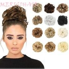 MERISIHAIR, вьющиеся резинки для волос, шиньон, с резинкой, коричневый, серый, синтетические волосы, кольцо, обруч на грязные пучки, хвосты