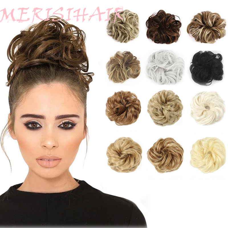 MERISIHAIR Scrunchie Chignon Ponytails Ring-Wrap Rubber-Band Messy Bun Brown Gray Curly title=