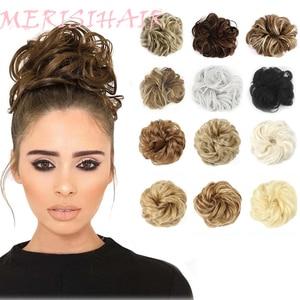 MERISIHAIR женские кудрявые резинки, шиньон с резиновой лентой, коричневые, серые синтетические волосы, кольцо, грязные конские хвосты