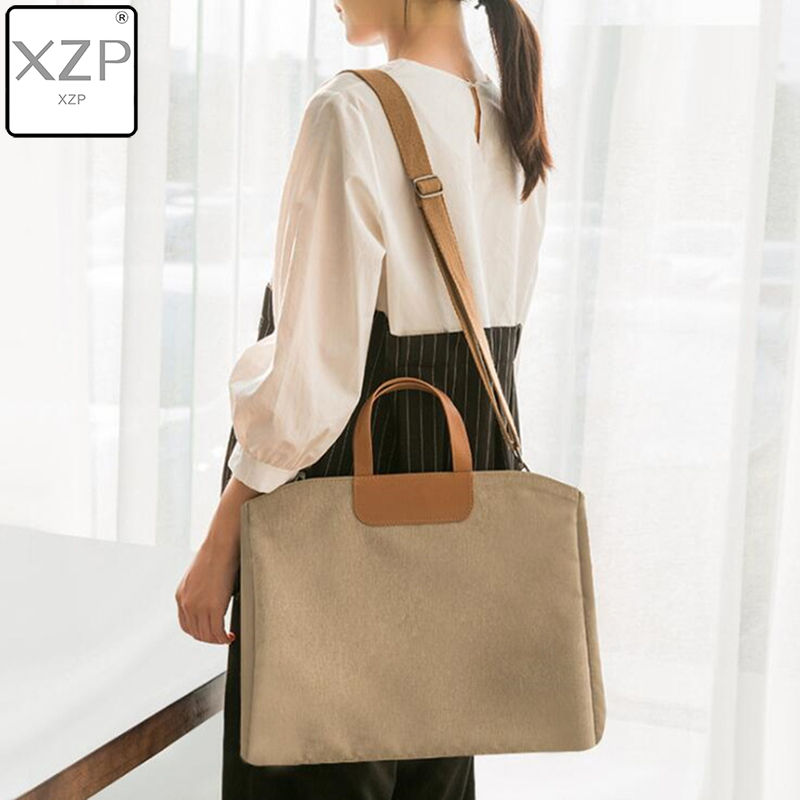 XZP Super Large Capacity Briefcase Korean Canvas A4 Document Office Bag For Women Men 15