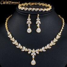 CWWZircons 3pcs Vrouwen Kostuum Grote Gouden Sieraden Set Shiny Zirconia Drop Dubai Bruiden Necklcae Oorbellen en Armbanden T370