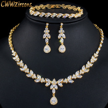 CWWZircons 3pcs Women Costume Big Gold Jewelry Set Shiny Cubic Zirconia Drop Dubai Brides Necklcae Earrings and Bracelets T370