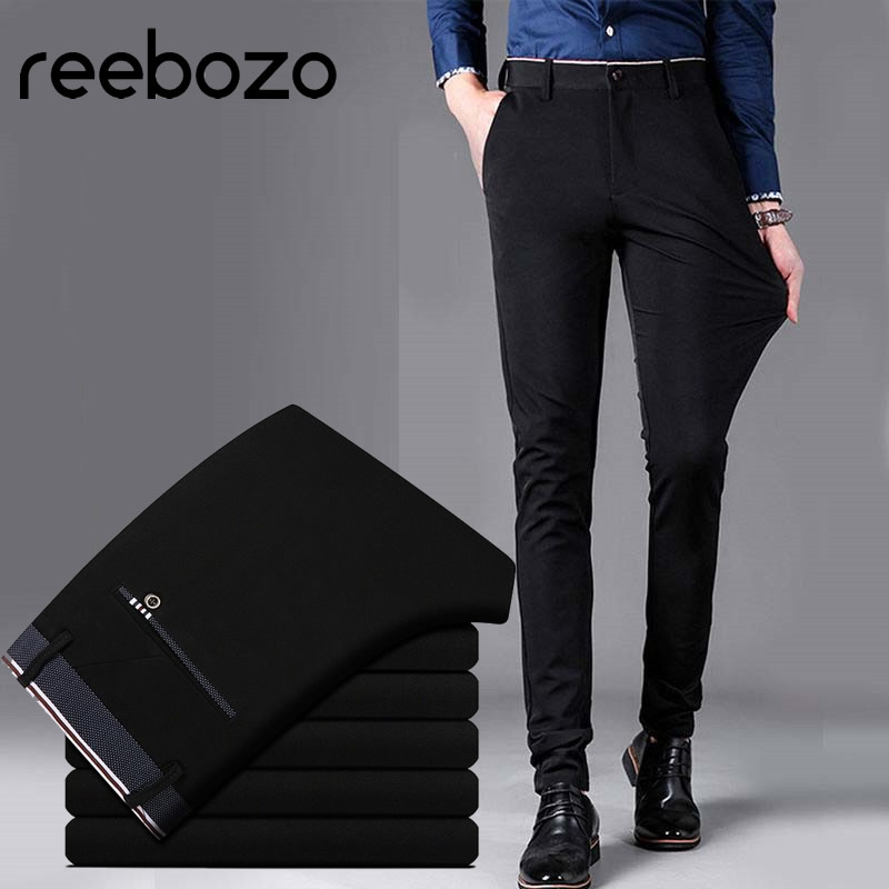 2019 Official Business Casual Suit Pants For Men Fashion Long Pants Male Cotton Solid Wedding Dress Slim Fit Plus Big Size 28-40