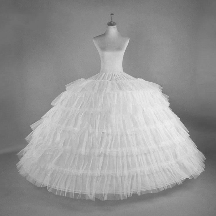 White 6 Hoops Big Petticoat Slips Tulle Skirts Long Puffy Crinoline Underskirt For Ball Gown Wedding Dress JKC7