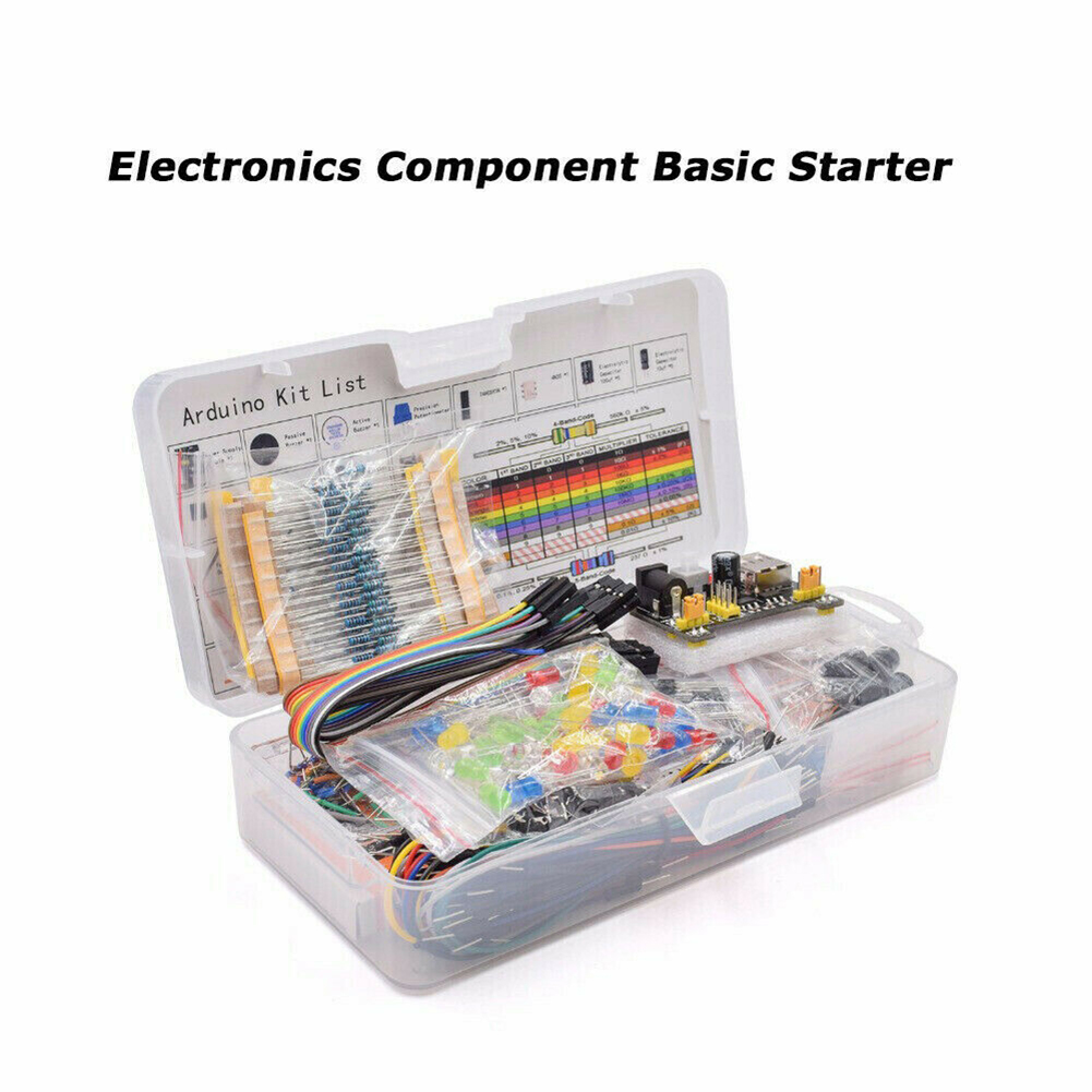 Electronic Component Kits Set Base Fun Kit Bundle With Resistor Capacitor LED Light Potentiometer Solderless Jumper Wire Buzzer