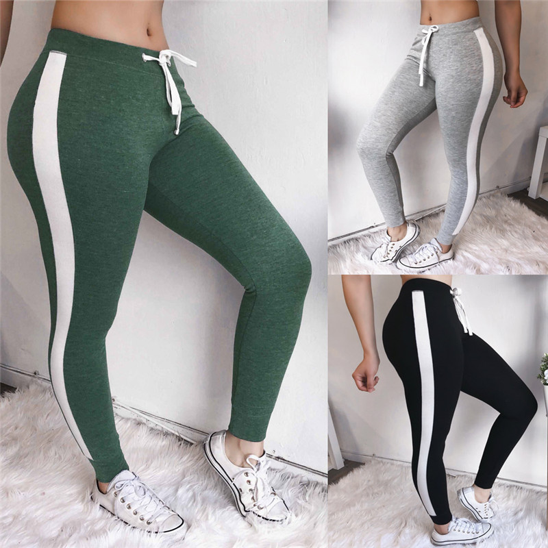 Women Sport Pants Side Stripe Sweatpants Gym Joggers Patchwork Style Drawstring Trousers Sport Pants Female Body Building Pants