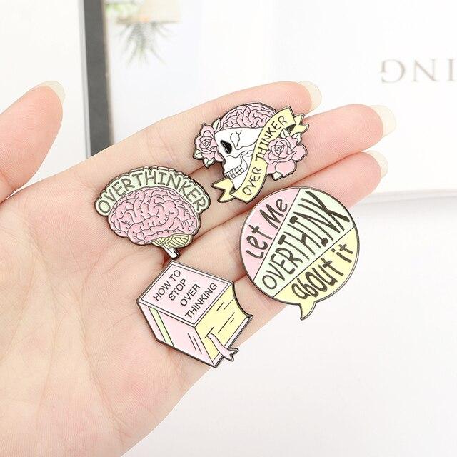 Overthinker Enamel Pin Custom Overthinking Award Brain Skull Book Brooches Bag Lapel Pin Cartoon Badge Jewelry Gift for Friends 4