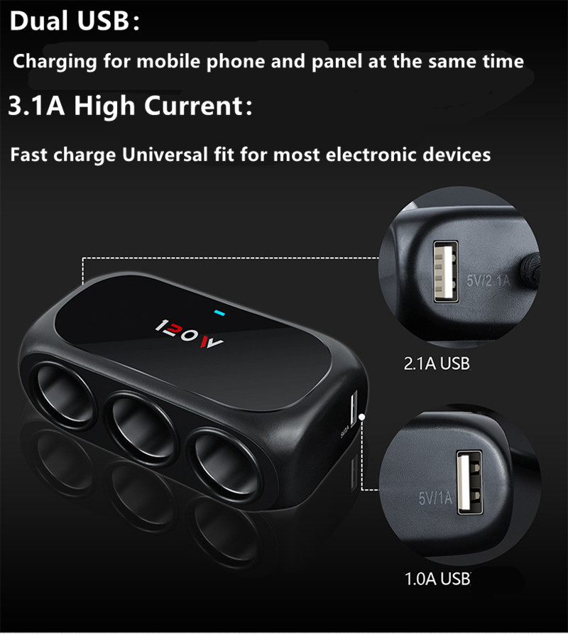 <font><b>12V</b></font>-24V <font><b>Dual</b></font> <font><b>USB</b></font> Port Fast Charging <font><b>Car</b></font> <font><b>Charger</b></font> 3 Cigar-ette Lighter <font><b>Socket</b></font> Splitter Plug Power Phone <font><b>Adapter</b></font> New hot boutique image