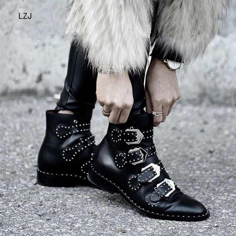 LZJ Đinh Tán Giả Da Boot Khóa Dây Dày Gót Đen Mắt Cá Chân Giày Bốt Nữ Đính Trang Trí Người Phụ Nữ Giày Xe Máy