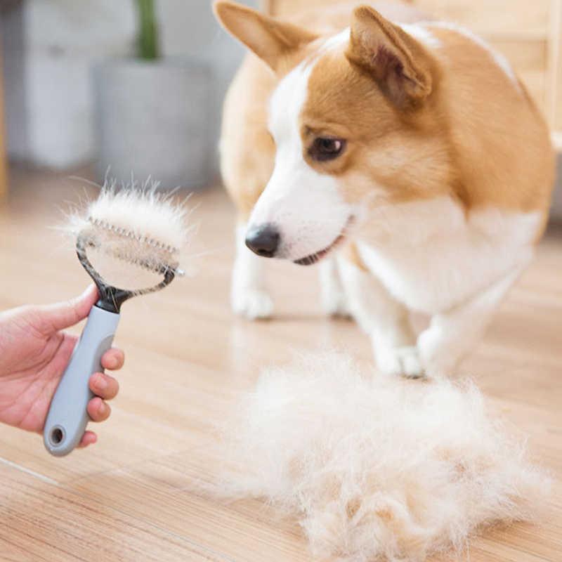 สัตว์เลี้ยง Dematting หวีสแตนเลส Grooming สัตว์เลี้ยงหวีสำหรับสุนัขและแมวเบาๆหลวมครีบรองพื้น Tangles และ Knots
