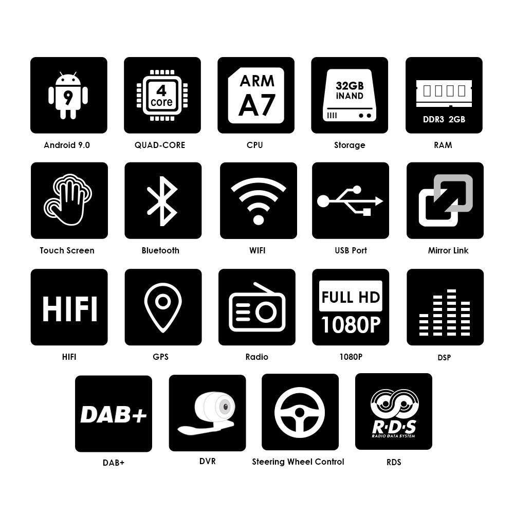 Ossuret 9 inch Android 9.0 Dubbele 2Din Auto radio GPS Auto radio 2 Din USB Voor Volkswagen/Passat/ GOLF/Skoda/Seat Wifi bluetooth - 2