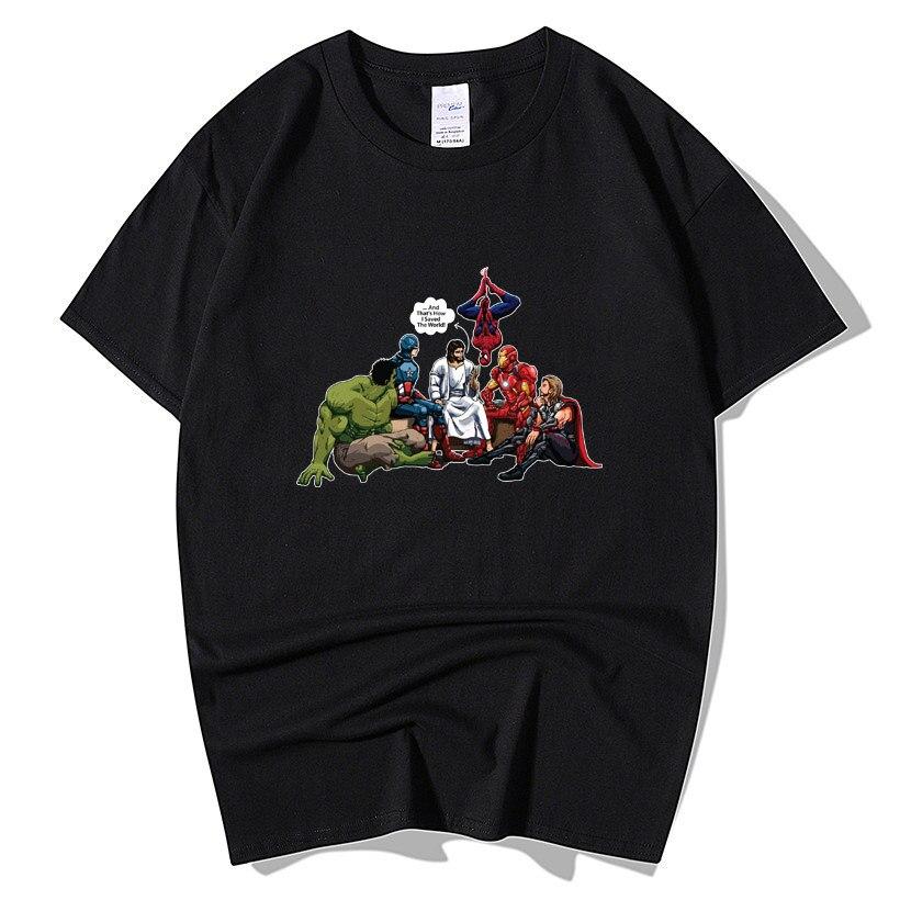 Marvel Superheroes Avengers 4 Endgame Hulk Captain America Spider Man  Man Thor Jesus Saved The World Christian T Shirt