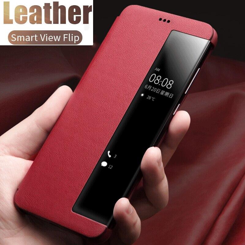 Luxury Leather Smart Mirror Flip Phone Case For Samsung S30 S20 FE S10 S9 S8 Note 20 UItra 10 8 9 Plus M51 A51 A71 A50 A70 Cover