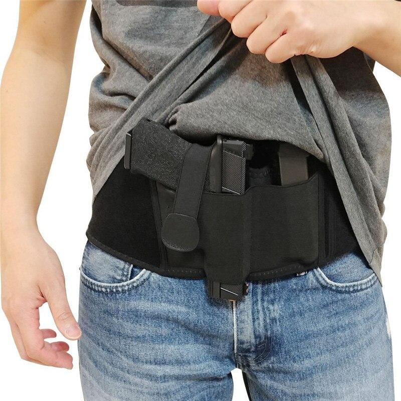 Evrensel taktik tabanca tabanca kılıfı gizli sağ göbek bandı Airsoft tabanca tabanca taşıyıcı tutucu dergisi kılıfı
