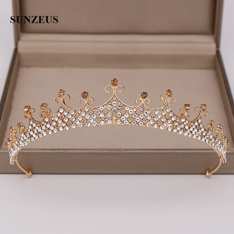 Bridal Wedding Crowns Sparkle Crystals Beaded Bithday Party Tiaras Wholesale Head Accessories Marriage SQ423