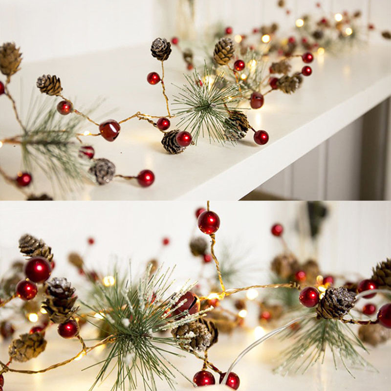 Pine Cones Christmas Lights Party LED String Lights Holiday Garland Home Decor Christmas  Beads Star Led Light Decoration Indoor