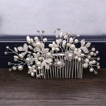 Trendy Silver Color Flower Pearl Hair Combs Wedding Hair Accessories Bridal Headpiece Hair ornaments Bride Women Hair Jewelry недорого