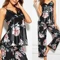 Новые женские атласные пижамы домашний костюм Весенняя кружевная отделка пижамы пижамный комплект с цветочным принтом, одежда для сна, пов...
