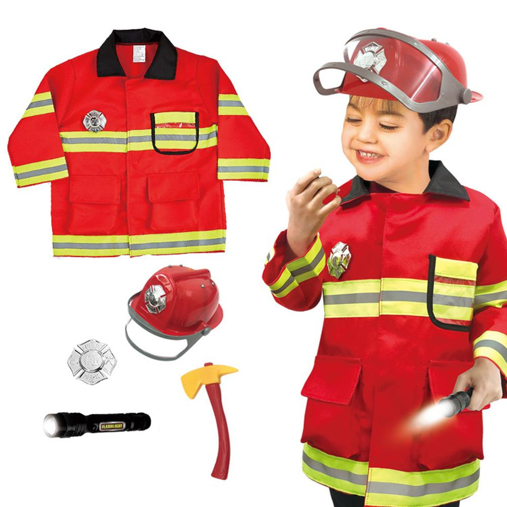 Children's Firefighter Suit Role-playing Props Holiday Fireman Costume Toy For Kid Pretend Role Play Dress Up And Play Set
