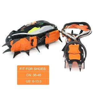 Image 3 - 12 שיניים קרח קרח גריפר ללא להחליק טיפוס סוגריים סוליות נעל כיסוי קרח מלקחי חורף שלג קוצים אתחול נעליים עבור חורף