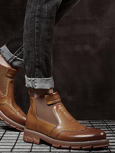 YIGER Men Boots Shoes Chelsea Martins Winter Genuine-Leather New Warm Man Slip-On Ankle