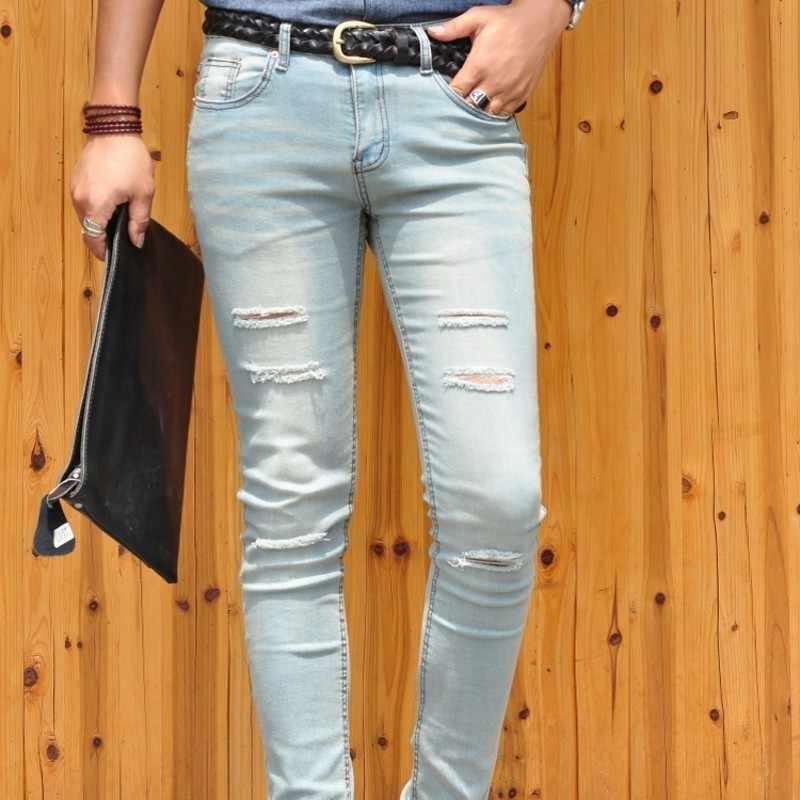 穴がライトブルーメンズデニムパンツファッションストレッチ登るカウボーイズボン韓国新ブランドカジュアル鉛筆のズボンストリート