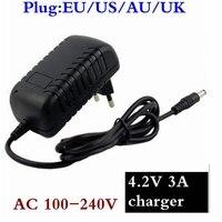 4.2 v 3a carregador de alta qualidade 5.5*2.1mm ac dc adaptador de alimentação carregador 1 série 4.2 v 3.7 v 3.6 v 18650 v bateria de lítio íon|Carregadores| |  -