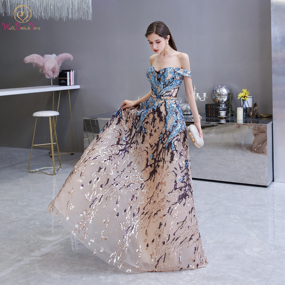 Sexy Prom Dress 2020 Colorful Sequin Off Shoulder Sweetheart Long Party A Line Formal Graduation Gown Evening Celebration Dress