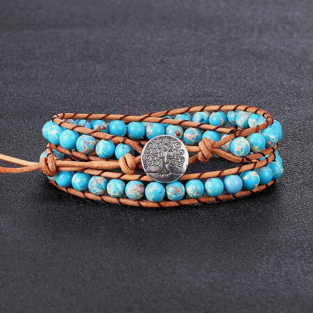 VOQ Women Vintage 6mm Emperor Stone 2 Laps Wrap Bracelet Beaded Adjustable Cowhide Rope Braided Handmade Luxury Jewelry