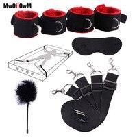Секс-игрушки для женщин мужчин БДСМ Связывание набор под кровать эротические сдержанные наручники и лодыжки манжеты и маска для глаз взрос...