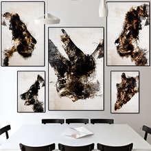 Gold and black wild Animals Canvas Painting wall art Rhino Wolf Giraffe Lion Poster Nordic Light luxury Decorative Paintings