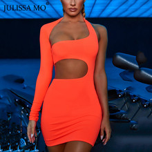 JULISSA MO Neon Sexy Hollow Out Party Dress Autumn One Shoulder Long Sleeve Short Dress Women Strapless Bodycon Dresses Vestidos to4rooms люстра julissa