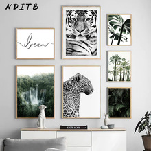 Nature Forest Landscape Canvas Wall Art Print Painting Nordic Tiger Leopard Poster Waterfall Palm Leaf Picture Modern Home Decor