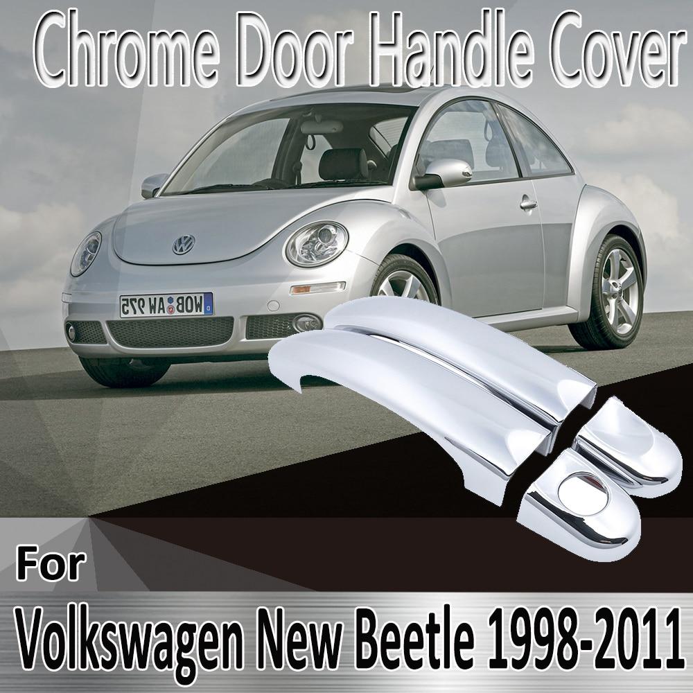 Para vw volkswagen novo besouro 1998 2011 1999 2001 2003 estilo adesivos decoração chrome maçaneta da porta capa reequipamento acessórios do carro