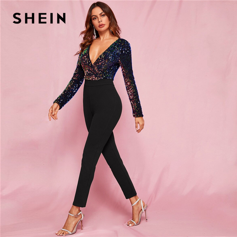 SHEIN Black Glamorous Zip Back Plunge Neck Sequin Skinny Combo Jumpsuit Women Spring Colorblock Wrap High Waist Sexy Jumpsuits 2