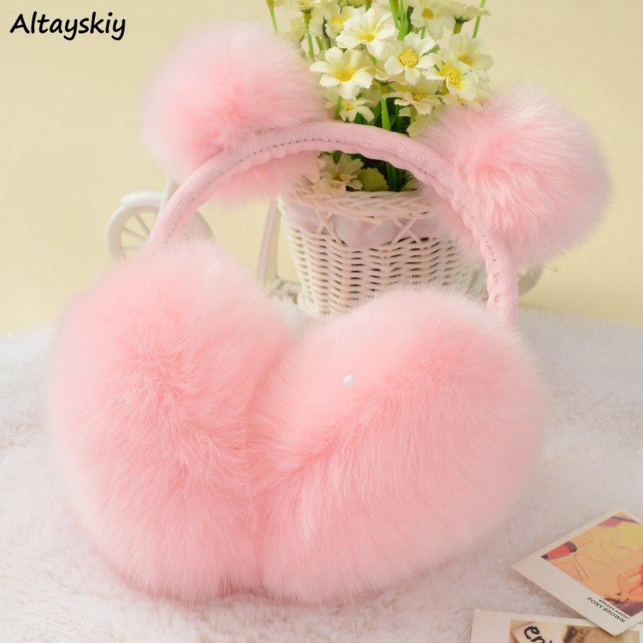 Earmuffs Women Korean Version Winter Cute Rabbit Fur Earmuff Fashion Warm Womens High Quality Ladies Rendy Students Accessories
