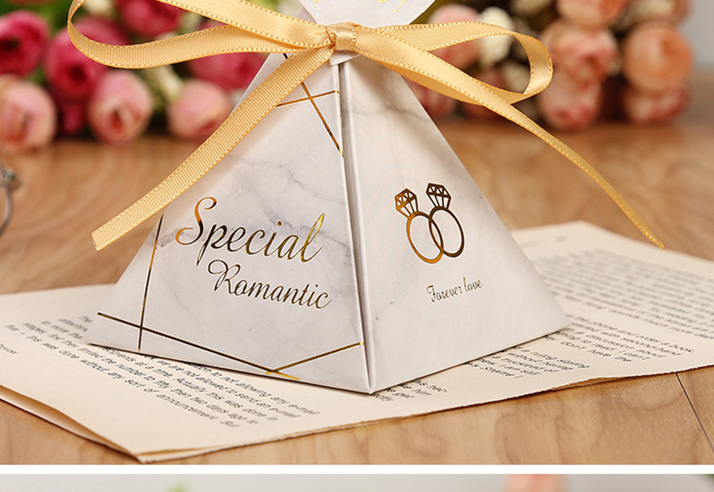 Triangular Pyramid Marble Candy Box Wedding Favors and Gifts Boxes Chocolate Box for Guests Giveaways Boxes Party Supplies-12